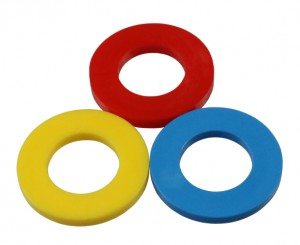 Color Coding washer RED, ID ø6,4mms / AD ø15mms, made of plastic PE