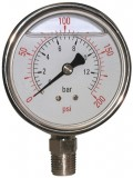 "Stainless Glycerine Manometer ø63mm - 1/4"" BSPT down"
