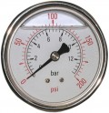 "Stainless Glycerine Manometer ø63mm - 1/4"" BSPT rear"